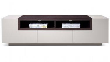 TV002 Lt Grey Gloss Dark Oak TV Stand by J&M Furniture