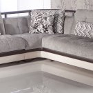 Natural Valencia Gray/Cream Vinyl Sectional Sofa Sleeper