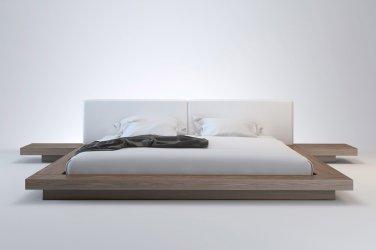 Florentino Walnut Modern Queen Platform Bed & Nightstands
