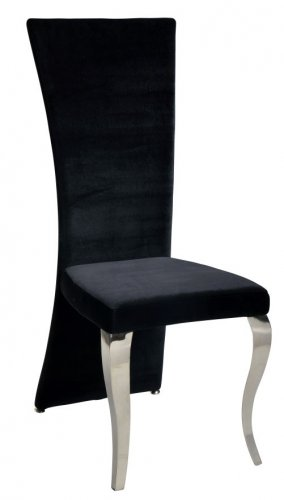 TERESA Dining Chair Set of 2 In Black Velvet