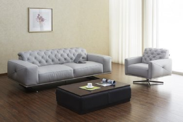 Othello Lt Grey Premium Leather Sofa and Chair