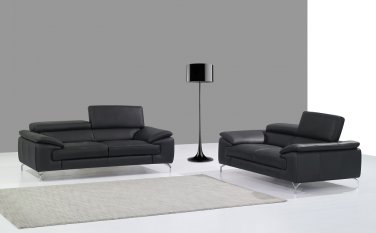 A973 Premium Leather Sofa and Loveseat in Black