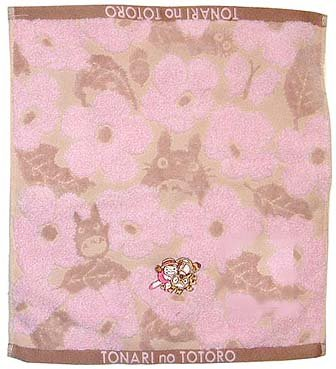 Ghibli - Totoro - Hand Towel - Nekobus & Mei Embroidered - Non Twisted Thread - kadan - pink (new)