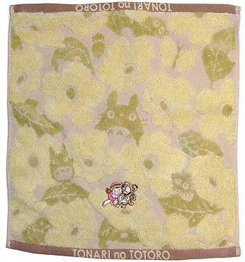 Ghibli - Totoro - Hand Towel - Nekobus & Mei Embroidered - Non Twisted Thread - kadan - yellow (new)