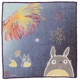 Handkerchief - 21.5x21.5cm - Gauze - fireworks - Sho & Chu Totoro & Kurosuke - Ghibli (new)