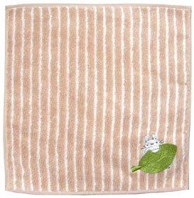 Ghibli - Totoro & Leaf - Mini Towel - OrganicCotton - Totoro & Chu Totoro Embroidered - brown (new)