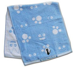 Ghibli - Kiki's Delivery Service - Face Towel - Jiji Embroidered - blue -out of production-RARE(new)