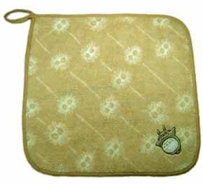 Ghibli - Totoro & Kurosuke - Loop Mini Towel - Organic Cotton - Totoro Embroidered - brown (new)