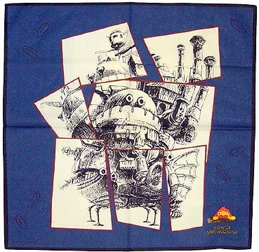 Howl's Moving Castle - Handkerchief - Calcifer Embroidered - blue (new)