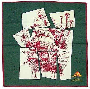 Howl's Moving Castle - Handkerchief - Calcifer Embroidered - green (new)