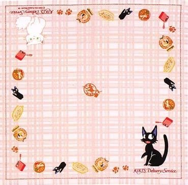 Ghibli - Kiki's Delivery Service - Jiji & Lily - Handkerchief -pink-outofproduction-RARE-1 left(new)