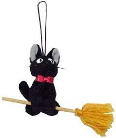 Ghibli - Kiki's Delivery Service - Jiji on Broom - Strap Holder - Mascot - 2006 (new)