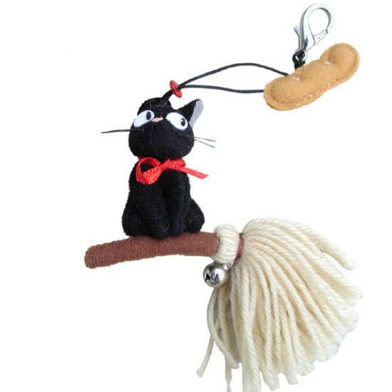 Ghibli - Kiki's Delivery Service - Jiji on Broom- Hook Starp -Bell-Mascot-noproduction-SOLD(new)