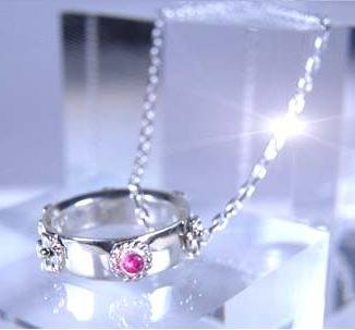 Ghibli- Howl's Moving Castle -Pinkie Necklace -Silver 950 Synthetic Ruby-outofproduction-RARE(new)