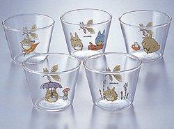5 Dessert Cup Set - Glass - Noritake - Totoro - Ghibli (new)