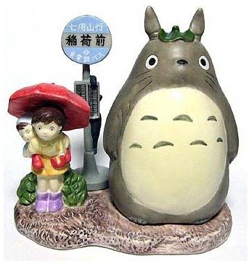 SOLD - Music Box - Porcelain - bus stop - Totoro & Mei & Satsuki - out of production (new)