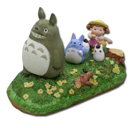 1 left- Music Box Porcelain -Sanpo- Mei Sho Chu Totoro Kurosuke Sekiguchi no production (new)