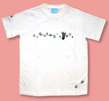 Ghibli - Kiki's Delivery Service - Jiji - T-shirt (M) - Jiji & Footprints Embroidered - white (new)