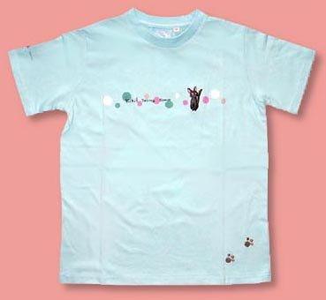 Ghibli - Kiki's - Jiji - T-shirt (L) - Jiji & Footprints Embroidered - blue (new)