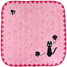 Ghibli - Kiki's Delivery Service - Jiji - Mini Towel - Jiji Embroidered - edging - pink - 2006 (new)