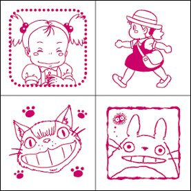 4 Stamps & Color Pad (carmine) Set - Totoro & Mei & Nekobus & Kurosuke - Ghibli (new)