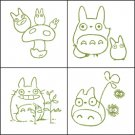 4 Rubber Stamps & Ink Pad Set 1 - Ink Color Olive Green - Made in Japan - Totoro - Ghibli
