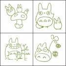 4 Stamps & Color Pad (olive green) Set - Totoro & Chu & Sho Totoro & Kurosuke - Ghibli (new)