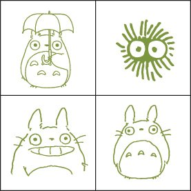 4 Rubber Stamps & Ink Pad Set 3 - Ink Color Olive Green - Made in JAPAN - Totoro - Ghibli