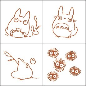 4 Stamps & Color Pad (autumn leaf) Set - Totoro & Chu & Sho Totoro & Kurosuke - Ghibli (new)