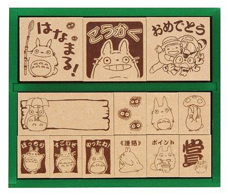 13 Stamps Set -Wooden Tray-made in Japan -Totoro & Chu & Sho & Nekobus & Mei & Kurosuke(new)