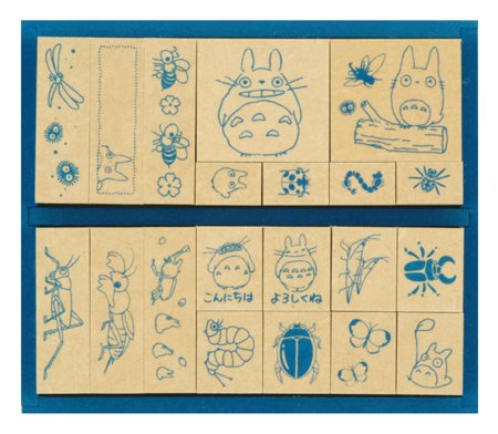 20 Stamps Set - bug - Wooden Tray - made in Japan - Totoro & Chu & Sho Totoro & Kurosuke (new)