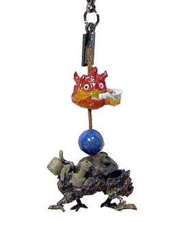 Hook & Strap Holder - Natural Stone Lapis Lazuli - Howl's Moving Castle & Calcifer (new)