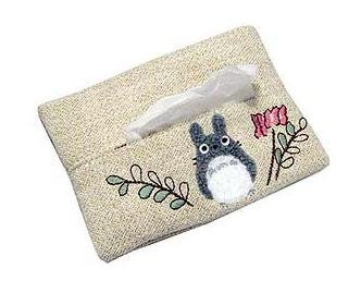 Ghibli - Totoro Applique & Flower Embroidered - Pocket Tissue Cover - 2006 (new)
