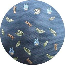 Ghibli - Chu Totoro - Necktie - Silk - Jacquard - leaf & branch - navy - 2007 - 2 left (new)