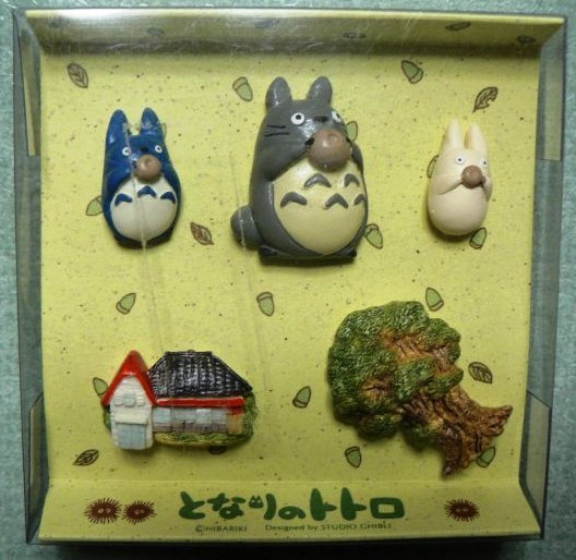 Ghibli - Totoro & Chu Sho Totoro & Mei's House & Totoro's Tree - 5 Push Pin Set -RARE-SOLD(new)