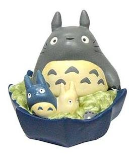 Ghibli - Totoro & Chu & Sho Totoro on Umbrella - Moneybox - Ceramics - blue - 2007 - SOLD OUT (new)