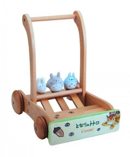 1 left - Rattle Pushing Cart - 3 Plush Doll - Beech Tree - Handmade- Totoro 2007 no production (new)