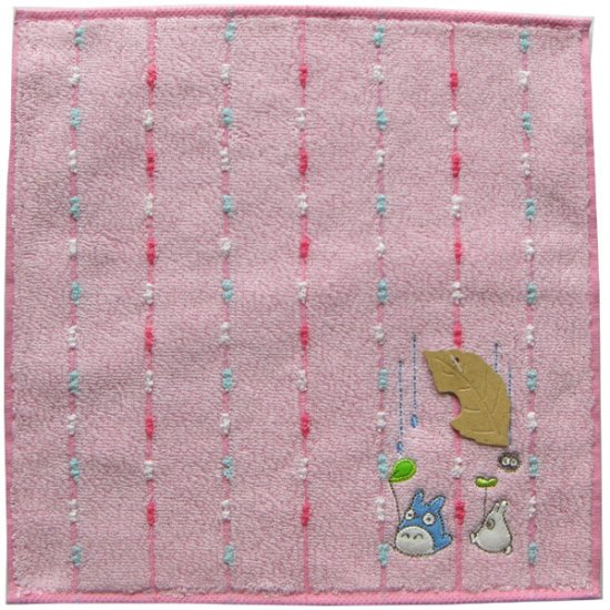 Ghibli - Chu & Sho Totoro & Kurosuke - Mini Towel - Embroidered - rain - pink - 2007 - SOLD (new)