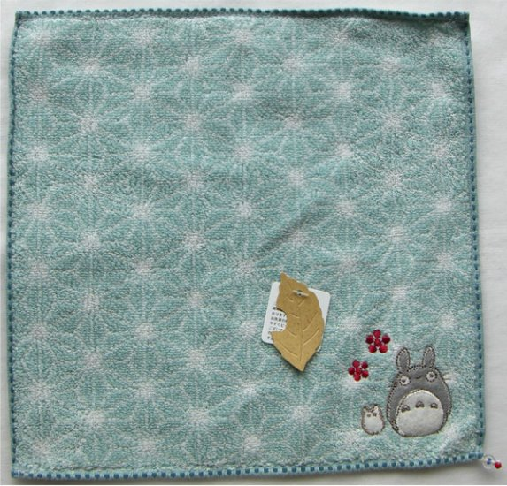 Ghibli - Totoro & Sho Totoro - Mini Towel - Embroidered - beads - blue - 2007 - SOLD (new)