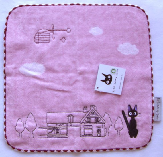 Ghibli - Kiki's Delivery Service - Jiji - Mini Towel -Embroidered-Applique-pink-2007-SOLDOUT(new)