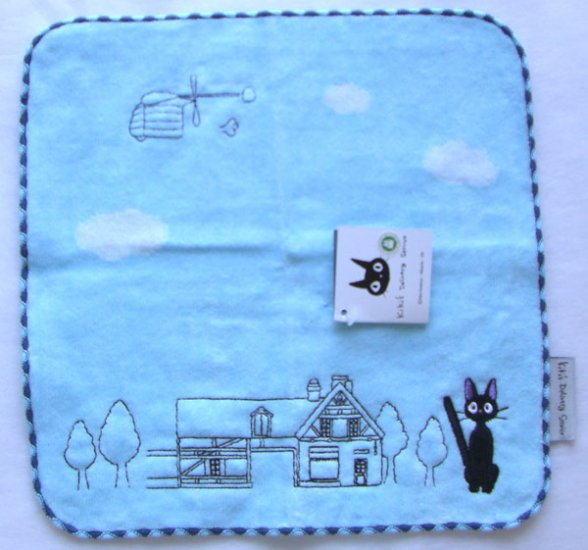 Ghibli- Kiki's Delivery Service - Jiji -MiniTowel-EmbroideredApplique-lightblue-2007-RARE-SOLD(new)
