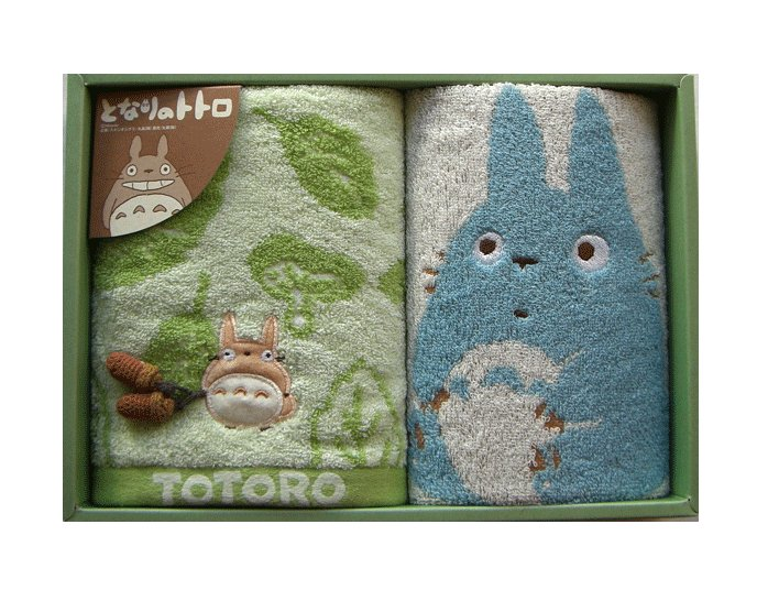 Towel Gift Set - Wash & Face Towel - Applique & Acorn Mascot - Totoro - 2007 (new)