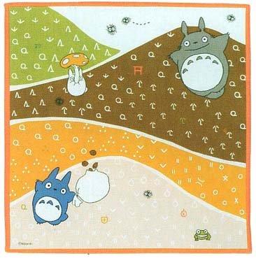 Ghibli - Totoro & Chu & Sho Totoro & Kurosuke - Handkerchief - 30x30cm - mountain -2008-SOLD(new)