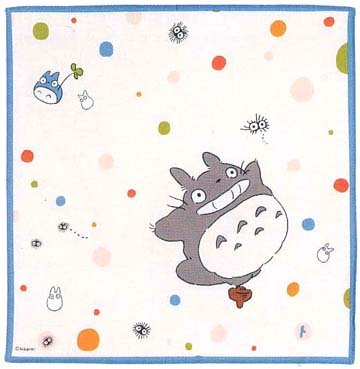 Ghibli - Totoro & Chu & Sho & Kurosuke - Handkerchief - 30x30cm - dot - 2008 (new)