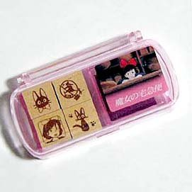 4 Stamp Set - Color Pad - Peony Purple - made in Japan - Kiki's Delivery Service - Ghibli (new)