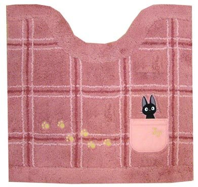 Toilet Mat - 55x60cm - Jiji & Footprint Embroidered - pink - Kiki's Delivery Service - Ghibli (new)