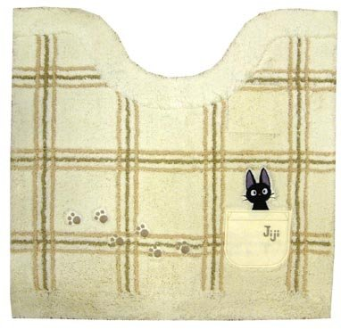 Toilet Mat - 55x60cm - Jiji & Footprint Embroidered - ivory - Kiki's Delivery Service - Ghibli (new)