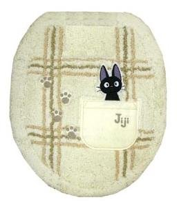 Toilet Lid Cover - regular - Jiji Embroidered - ivory - Kiki's Delivery Service - Ghibli  (new)