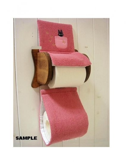 Toilet Paper Holder Cover - Jiji Embroidered - pink - Kiki's Delivery Service - Ghibli (new)