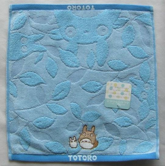 Ghibli - Totoro - Hand Towel - Totoro & Sho Totoro Embroidered - leaf - blue - 2008 (new)